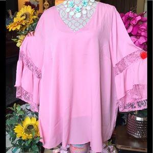😳NWT Plus Sz 22/24 Romantic in Pink: LaceTrim Top